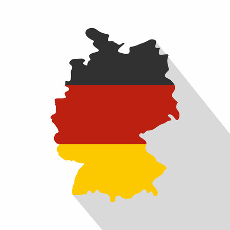 Germany map with national flag icon. Flat illustration of Germany map with national flag vector icon for web isolated on white background Illustration