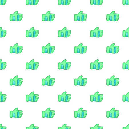 Green paintball glove pattern. Cartoon illustration of green paintball glove vector pattern for web