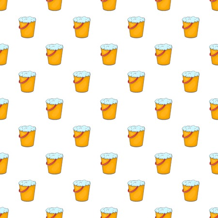 Orange bucket with foamy water pattern. Cartoon illustration of orange bucket with foamy water vector pattern for web