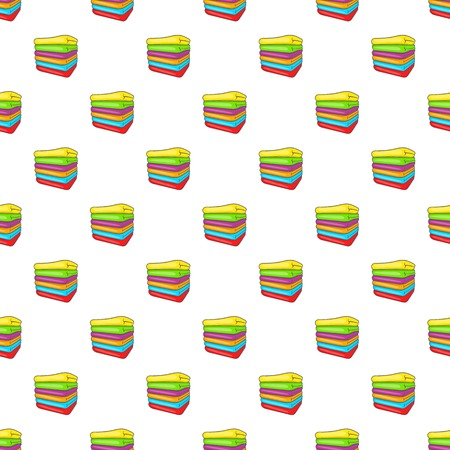 absorbent: Stack of colored towels pattern. Cartoon illustration of stack of colored towels vector pattern for web