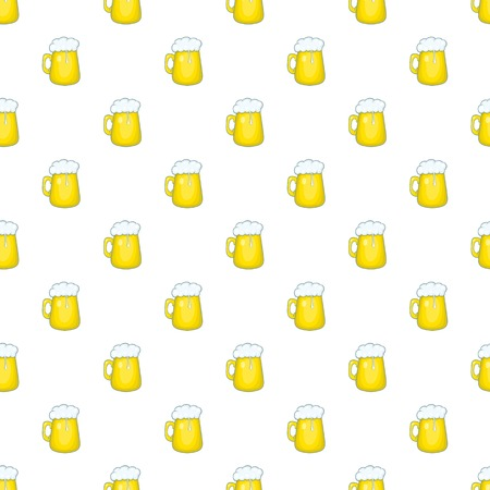 Mug of beer pattern. Cartoon illustration of mug of beer vector pattern for web