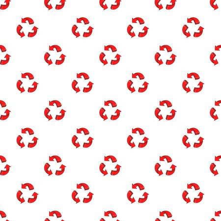 Three circular arrows pattern. Cartoon illustration of three circular arrows vector pattern for web Illustration