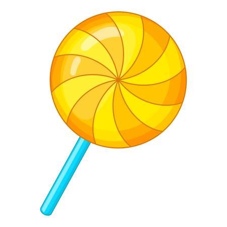 Candy on a stick icon. Cartoon illustration of candy on a stick vector icon for web design