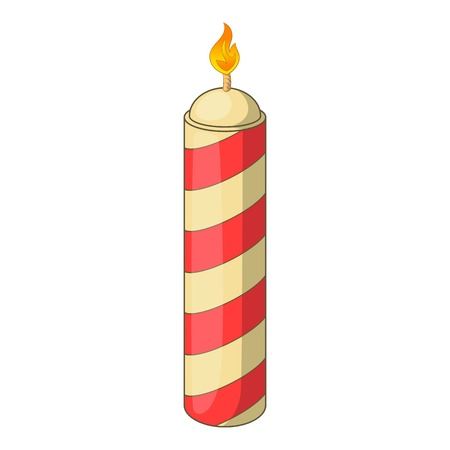 Color candle icon. Cartoon illustration of candle vector icon for web design