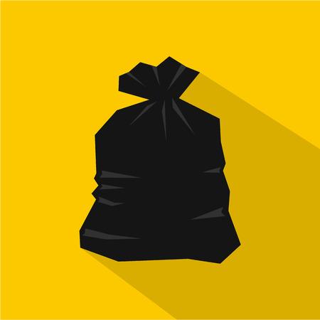 garbage bag: Garbage bag icon. Flat illustration of garbage bag vector icon for web