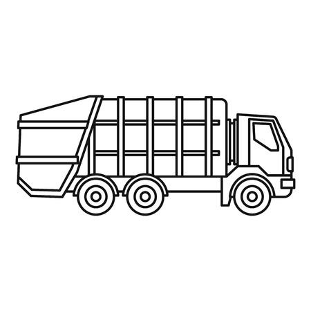 Garbage truck icon. Outline illustration of garbage truck vector icon for web Vectores