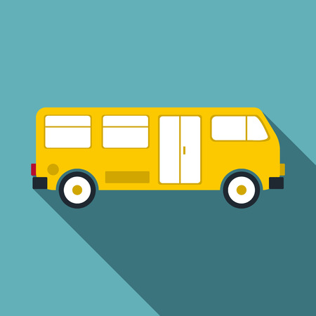 schoolbus: Bus icon. Flat illustration of bus vector icon for web