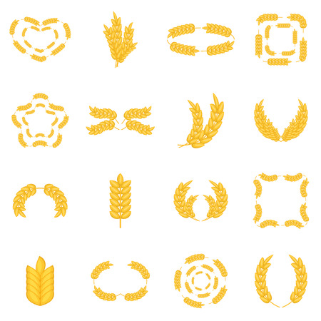 corn stalk: Ear corn icons set. Cartoon illustration of 16 ear corn vector icons for web