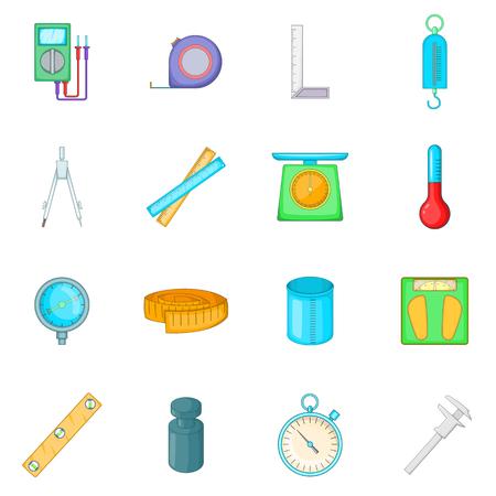 Meet gereedschap iconen set. Cartoon illustratie van 16 maatregel hulpmiddelen vector iconen voor web