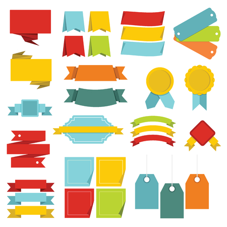 Different colorful labels icons set. Flat illustration of 16 different colorful labels vector icons for web