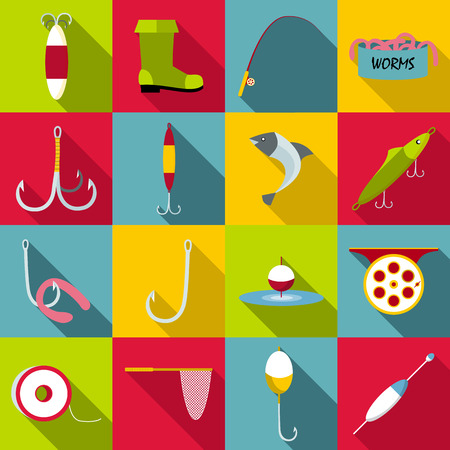 sinker: Fishing tools items set. Flat illustration of 16 fishing tools items vector icons for web
