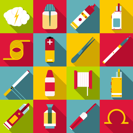 E-cigarettes tools set. Flat illustration of 16 e-cigarettes tools vector icons for web Illustration