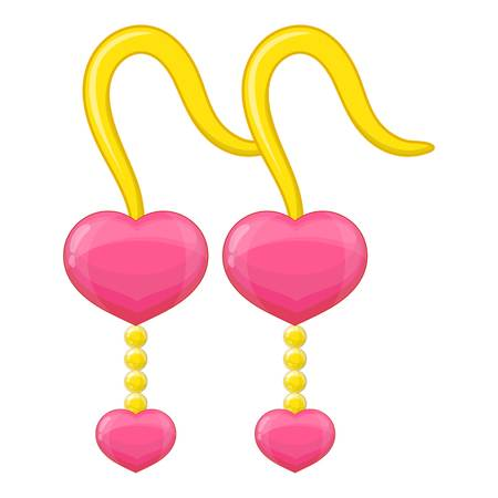 Pink earrings icon. Cartoon illustration of pink earrings vector icon for web design