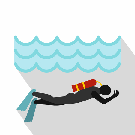 Aqualanger in diving suit icon. Flat illustration of aqualanger in diving suit vector icon for web