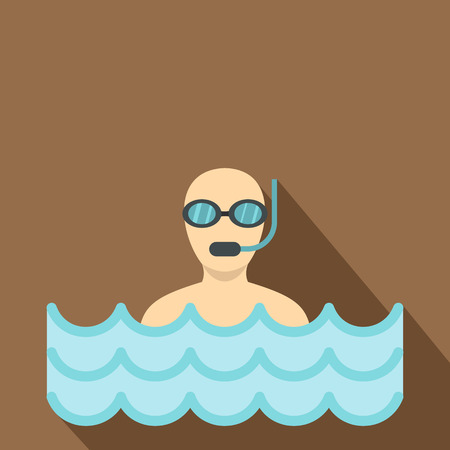 Diver with scuba icon. Flat illustration of diver with scuba vector icon for web