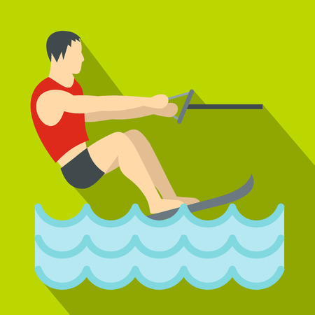 Water skiing icon. Flat illustration of water skiing vector icon for web