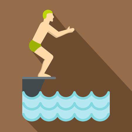 springboard: Ilustración plana de pie en el trampolín, se prepara para zambullirse de iconos de vectores para la web