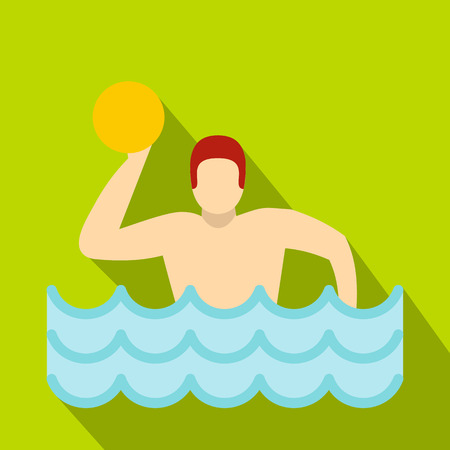 pool player: Water polo player in swimming pool icon. Flat illustration of water polo player in swimming pool vector icon for web