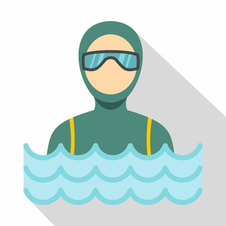 maillot de bain: Plongeur homme en costume de plongée icône. illustration plat de plongée sous-marine homme plongée icône vecteur de costume pour le web Illustration