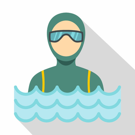 Scuba diver man in diving suit icon. Flat illustration of scuba diver man in diving suit vector icon for web Illustration