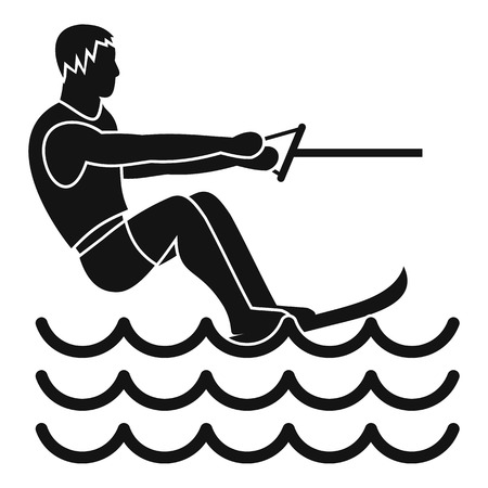 water skiing: Water skiing man icon. Simple illustration of water skiing man vector icon for web Illustration