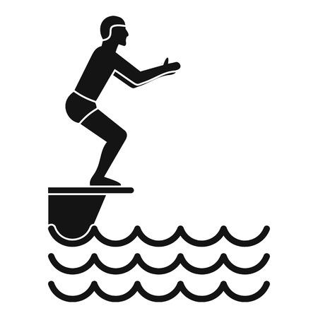 springboard: Man standing on springboard icon. Simple illustration of man standing on springboard vector icon for web