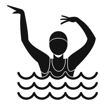 synchronized: Swimmer in a swimming pool icon. Simple illustration of swimmer in a swimming pool vector icon for web Illustration