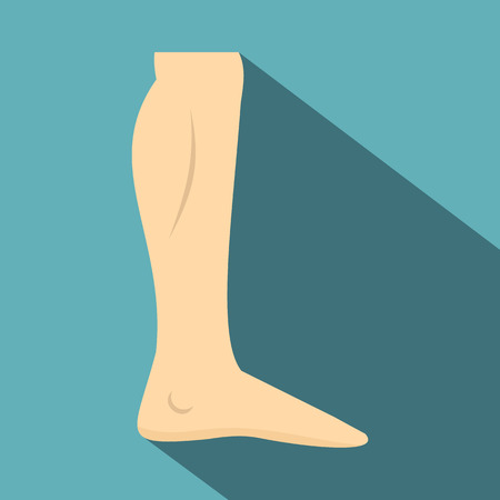 Nude human leg icon. Flat illustration of nude human leg vector icon for web