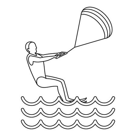 Kitesurfing icon. Outline illustration of kitesurfing vector icon for web Vektorové ilustrace