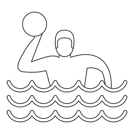 water polo: Calefacción y agua del icono del jugador. Ilustración del esquema de waterpolo icono del reproductor vectorial para la web