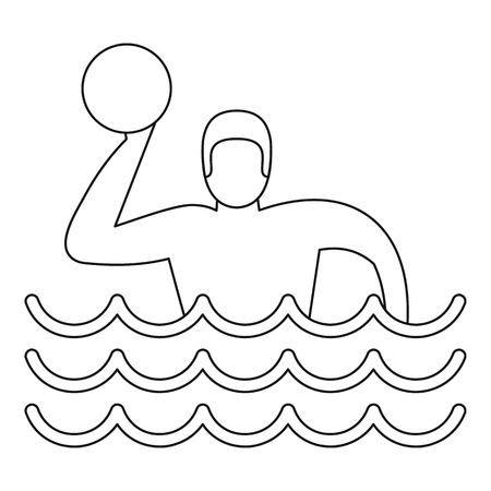 pool player: Water polo player icon. Outline illustration of water polo player vector icon for web