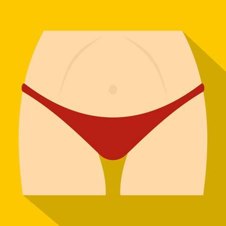 Slim woman body in red panties icon. Flat illustration of slim woman body in red panties vector icon for web Illustration
