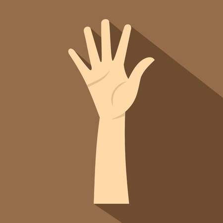 nonverbal: Hand showing five fingers icon. Flat illustration of hand showing five fingers vector icon for web