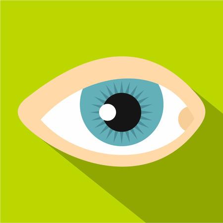 human eye: Blue human eye icon. Flat illustration of blue human eye vector icon for web