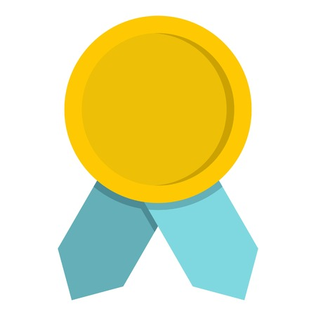 Yellow badge with blue ribbons icon. Flat illustration of yellow badge with blue ribbons vector icon for web Illustration