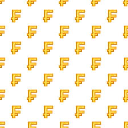 Swiss Franc Currency Symbol Pattern Cartoon Illustration Of