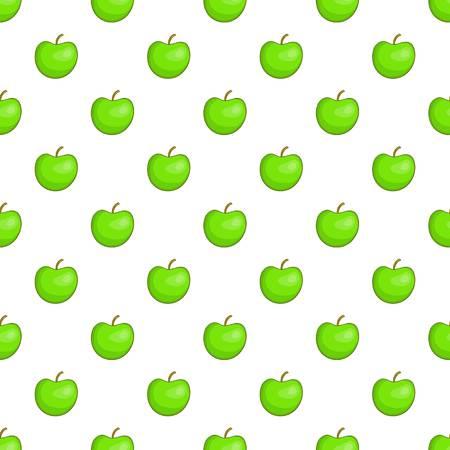 Green apple pattern. Cartoon illustration of green apple vector pattern for web
