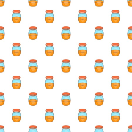 confiture: Jam in glass jar pattern. Cartoon illustration of jam in glass jar vector pattern for web