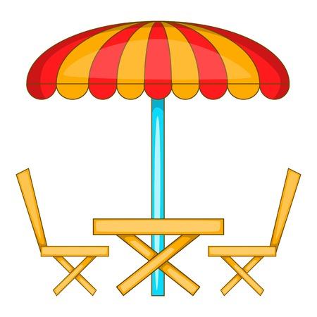 cafe table: Cafe table with sun umbrella icon. Cartoon illustration of cafe table with sun umbrella vector icon for web design