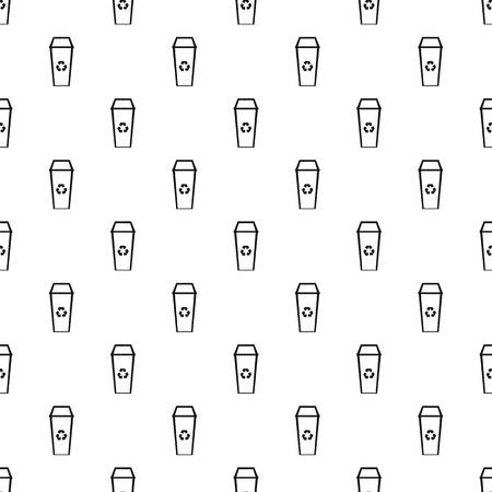 can pattern: Open trash can pattern. Simple illustration of open trash can vector pattern for web