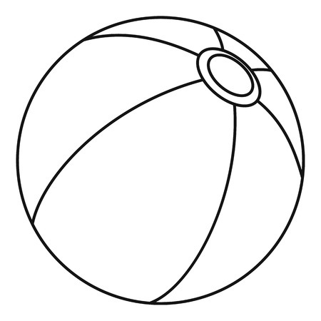 Beach ball, icon. Outline illustration of beach ball, vector icon for web Illustration