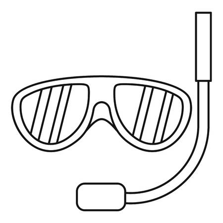 rubber tube: Swimming mask icon. Outline illustration of swimming mask vector icon for web