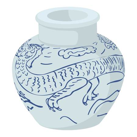 ming: Chinese vase icon. Cartoon illustration of chinese vase vector icon for web