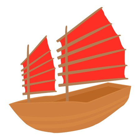 Chinese ship icon. Cartoon illustration of chinese ship vector icon for web Illustration
