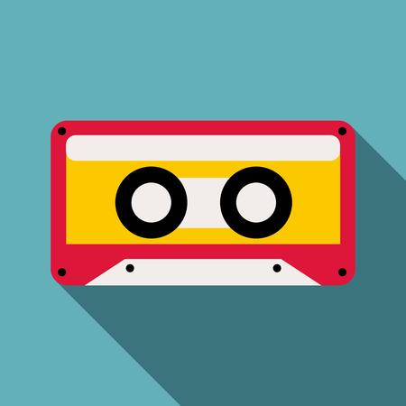 grabadora: Icono de cassette. Ilustración plana del icono de vector de cassette para web