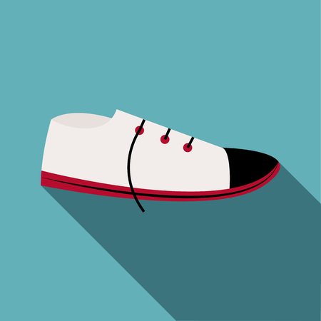 keds: White boot icon. Flat illustration of white boot vector icon for web