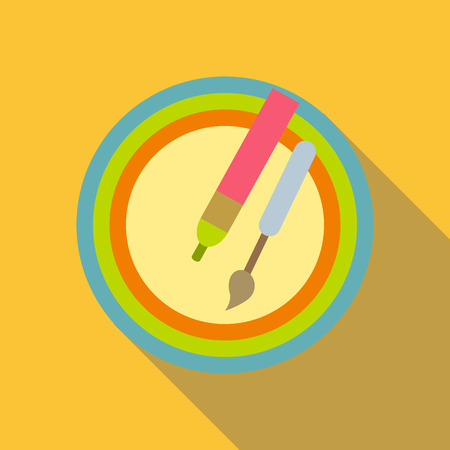 Pencil and brush icon. Flat illustration of pencil and brush vector icon for web