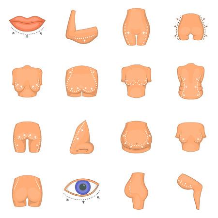 Conjunto de iconos de cirujano plástico, estilo de dibujos animados