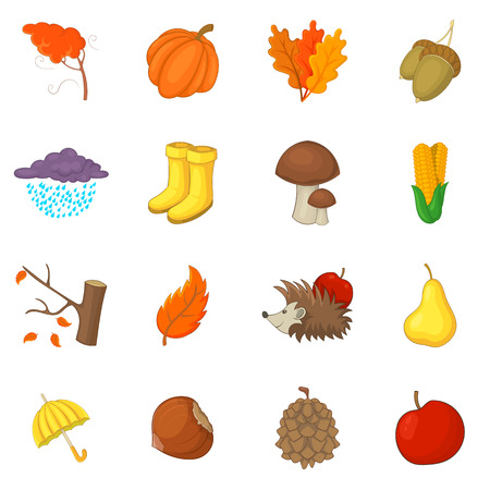 Autumn items icons set, cartoon style