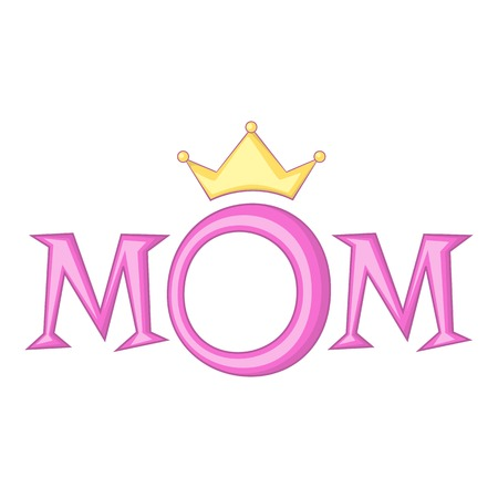 Lettering Mom with crown icon, cartoon style